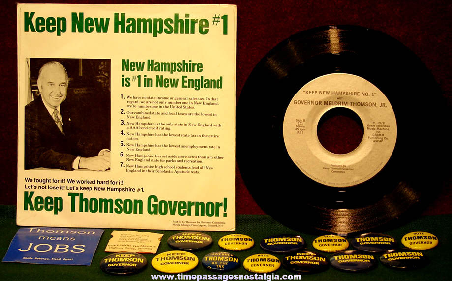 (16) 1970s New Hampshire Governor Mel Thomson Political Campaign Advertising Items