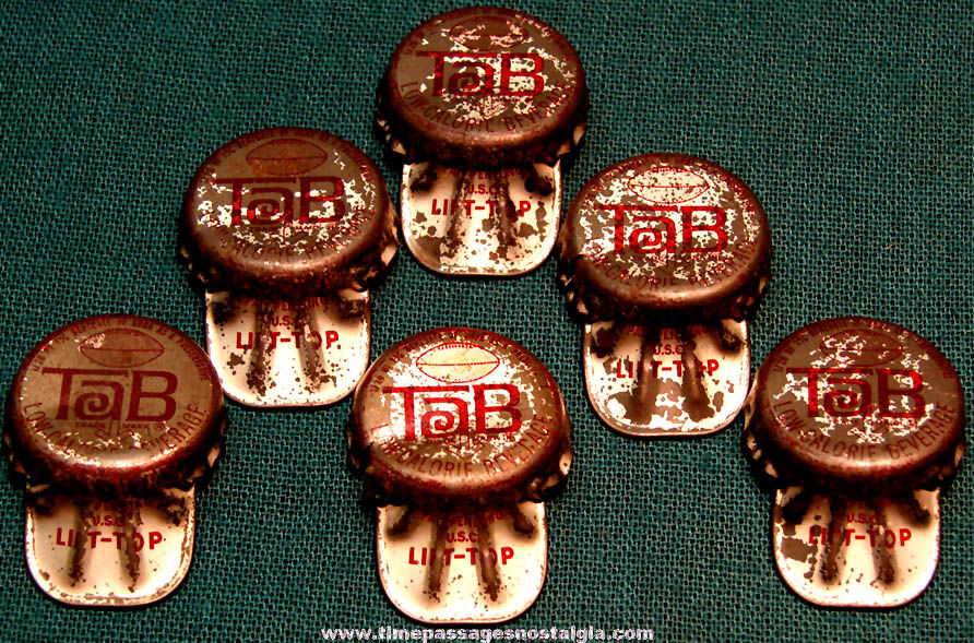 (6) Old Tab Soda Lift Top Bottle Caps with Boston Patriots Football Players