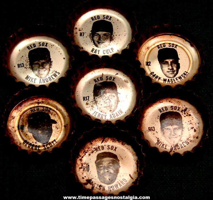 (7) Old Coca Cola Soda Bottle Caps with Boston Red Sox Baseball Players