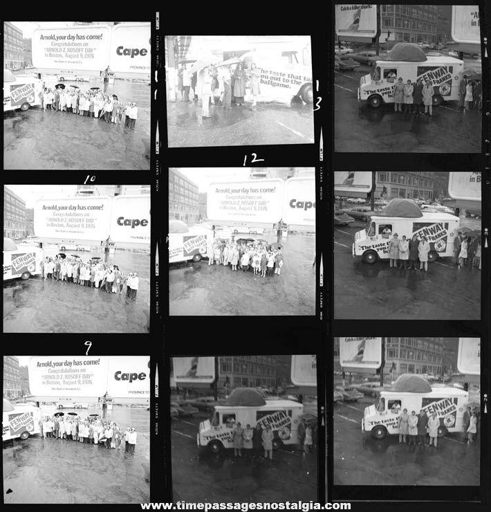 (17) 1976 Arnold & Company Fenway Franks Promotional Black & White Group Photograph Negatives
