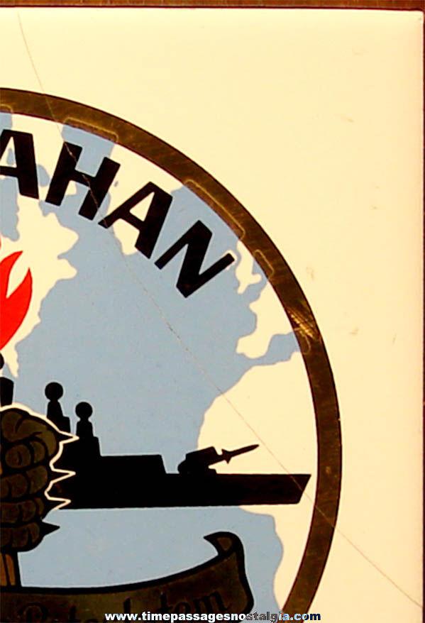 Old United States Navy Ship U.S.S. Mahan DLG-11 Insignia Ceramic & Wood Award Plaque