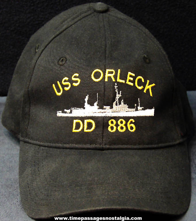 Unused United States Navy Destroyer Ship U.S.S. Orleck DD-886 Advertising Insignia Ball Cap Hat