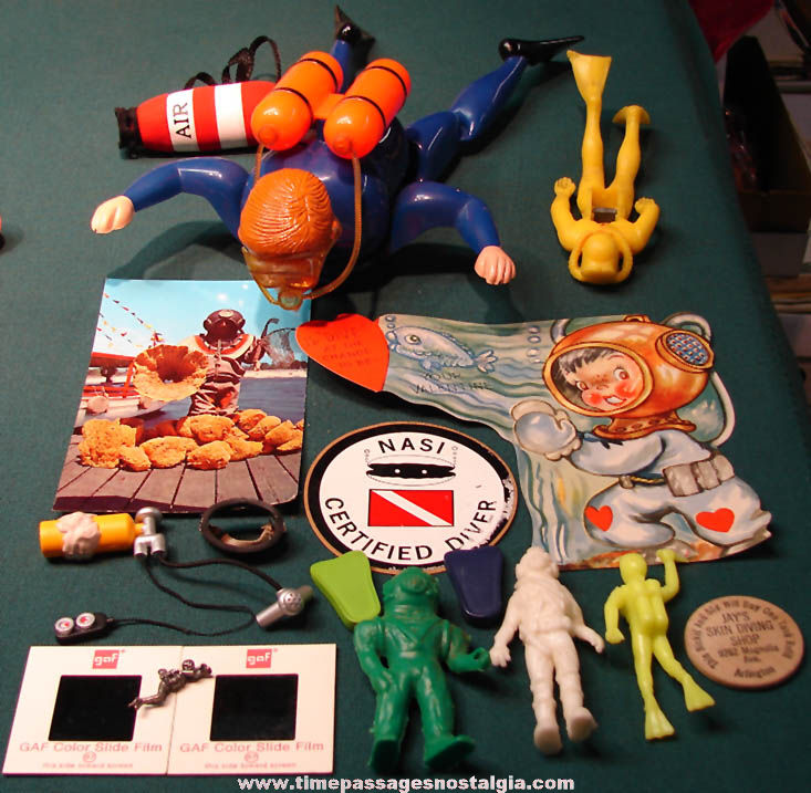 (17) Different Small Old Diver or Diving Related Items