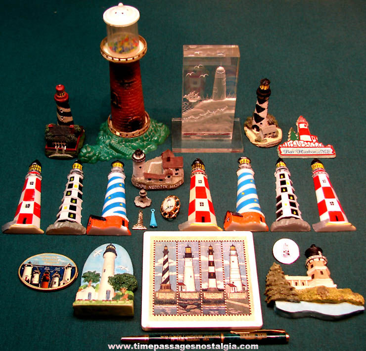 (23) Small Colorful Nautical Lighthouse Items