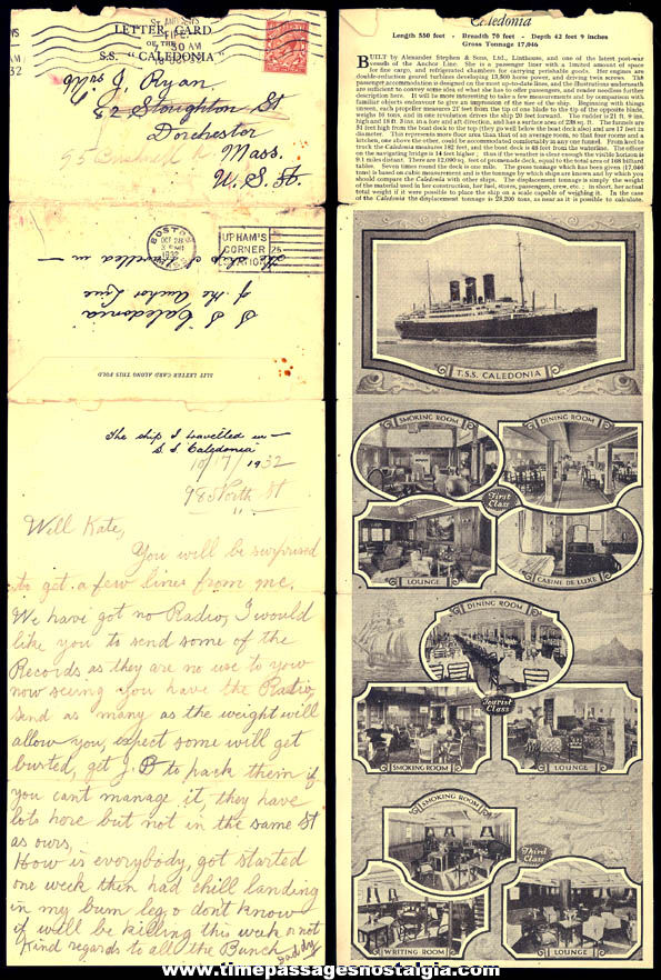 1932 Letter Card From The S.S. Caledonia Anchor Line Ocean Liner Cruise Ship