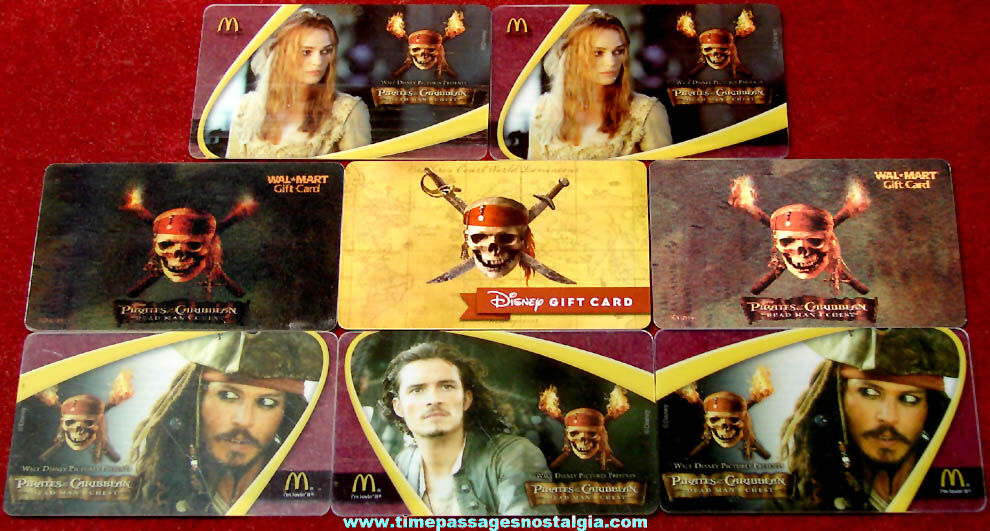 (8) Walt Disney Pirates of The Caribbean Movie Advertising Gift Cards