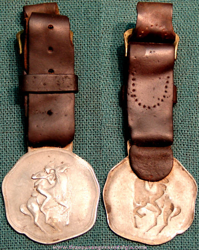 Old Native American Indian on Horseback Embossed Metal Watch Fob with Leather Strap