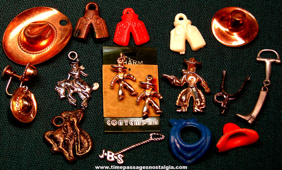 (17) Small Old Western Cowboy Character Jewelry Charms and Miniatures