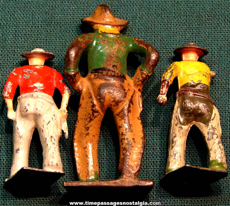 (3) Different Old Painted Metal Cowboy Play Set Figures