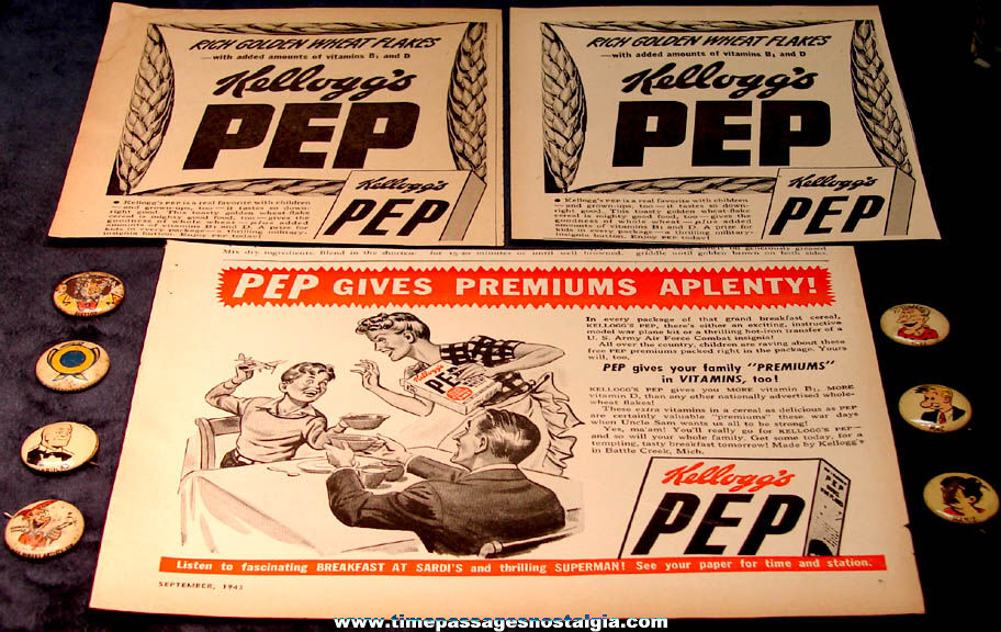 (3) Old Kellogg's PEP Cereal Advertisements & (7) Prize Pin Back Buttons