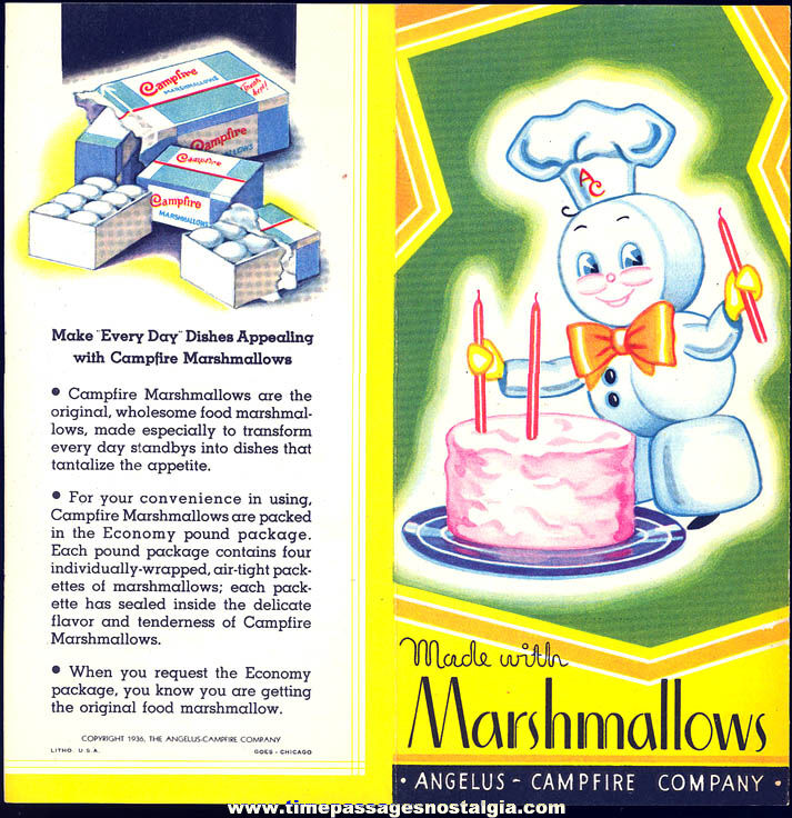 Colorful ©1936 Angelus - Campfire Company Advertising Premium Marshmallow Recipe Booklet