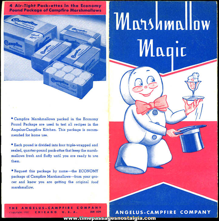 Colorful ©1937 Angelus - Campfire Company Advertising Premium Marshmallow Recipe Booklet