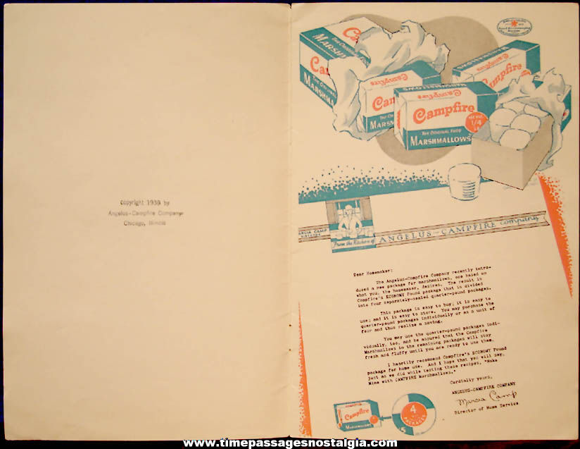 Colorful ©1939 Angelus - Campfire Company Advertising Premium Marshmallow Recipe Booklet
