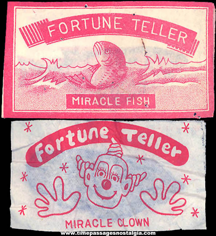 (2) Old Unopened Cracker Jack Pop Corn Confection Novelty Toy Prize Fortune Teller Miracle Fish and Clown