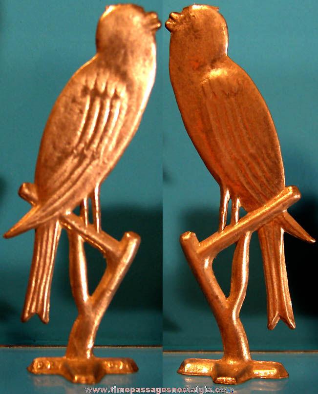Old Cracker Jack Pop Corn Confection Cast Aluminum Bird on a Branch German Metal Toy Prize Figurine