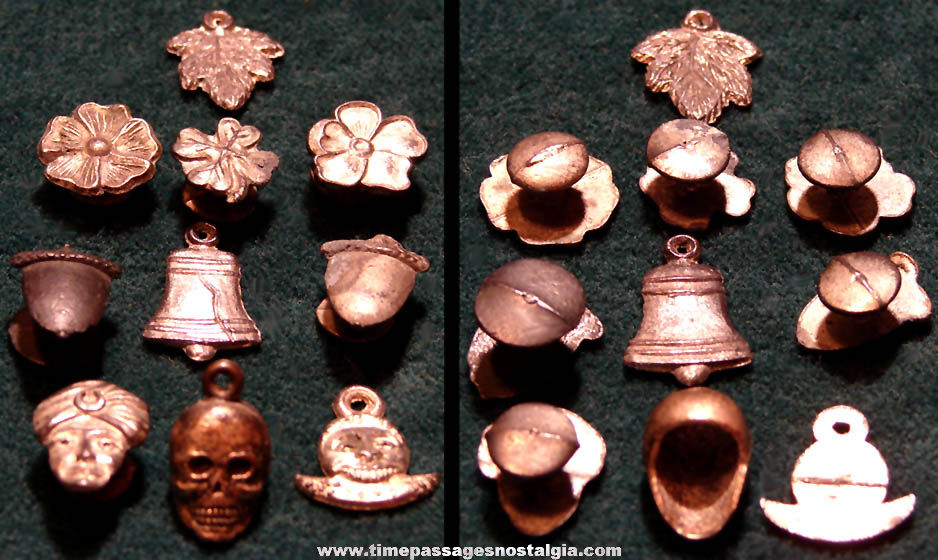 (10) Different Old Cracker Jack Pop Corn Confection Pot Metal or Lead Toy Prize Charms & Lapel Stud Buttons