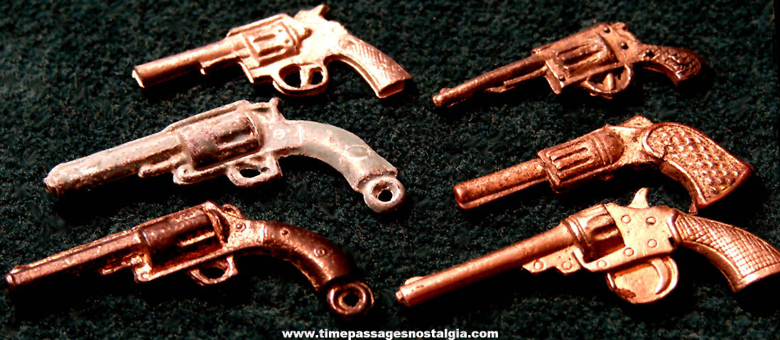(6) Matching Old Cracker Jack Pop Corn Confection Miniature Pot Metal or Lead Toy Prize Revolver Guns