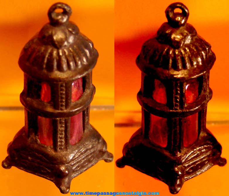 Rare Early Cracker Jack Pop Corn Confection Miniature Pot Metal Toy Prize Wood Stove Charm