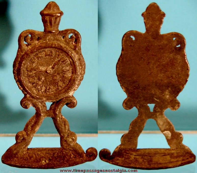 Early Cracker Jack Pop Corn Confection Miniature Pot Metal Toy Prize Mantle Clock