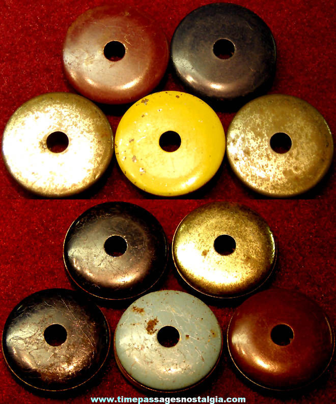 (5) Matching Small 1930s Cracker Jack Pop Corn Confection Tin Metal Toy Prize Screamer Type Whistles