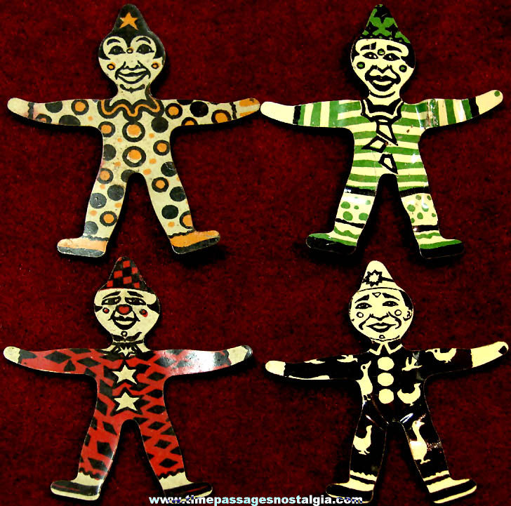 (4) Different Old Cracker Jack Pop Corn Confection Lithographed Tin Miniature Toy Prize Circus Clowns