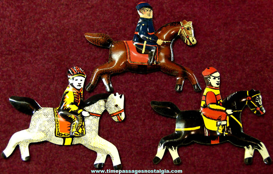 (3) Different Old Cracker Jack Pop Corn Confection Lithographed Tin Miniature Toy Prize Horses With Riders