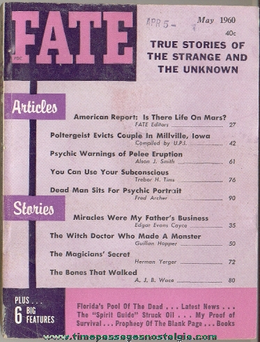 1960 FATE Magazine Back Issues
