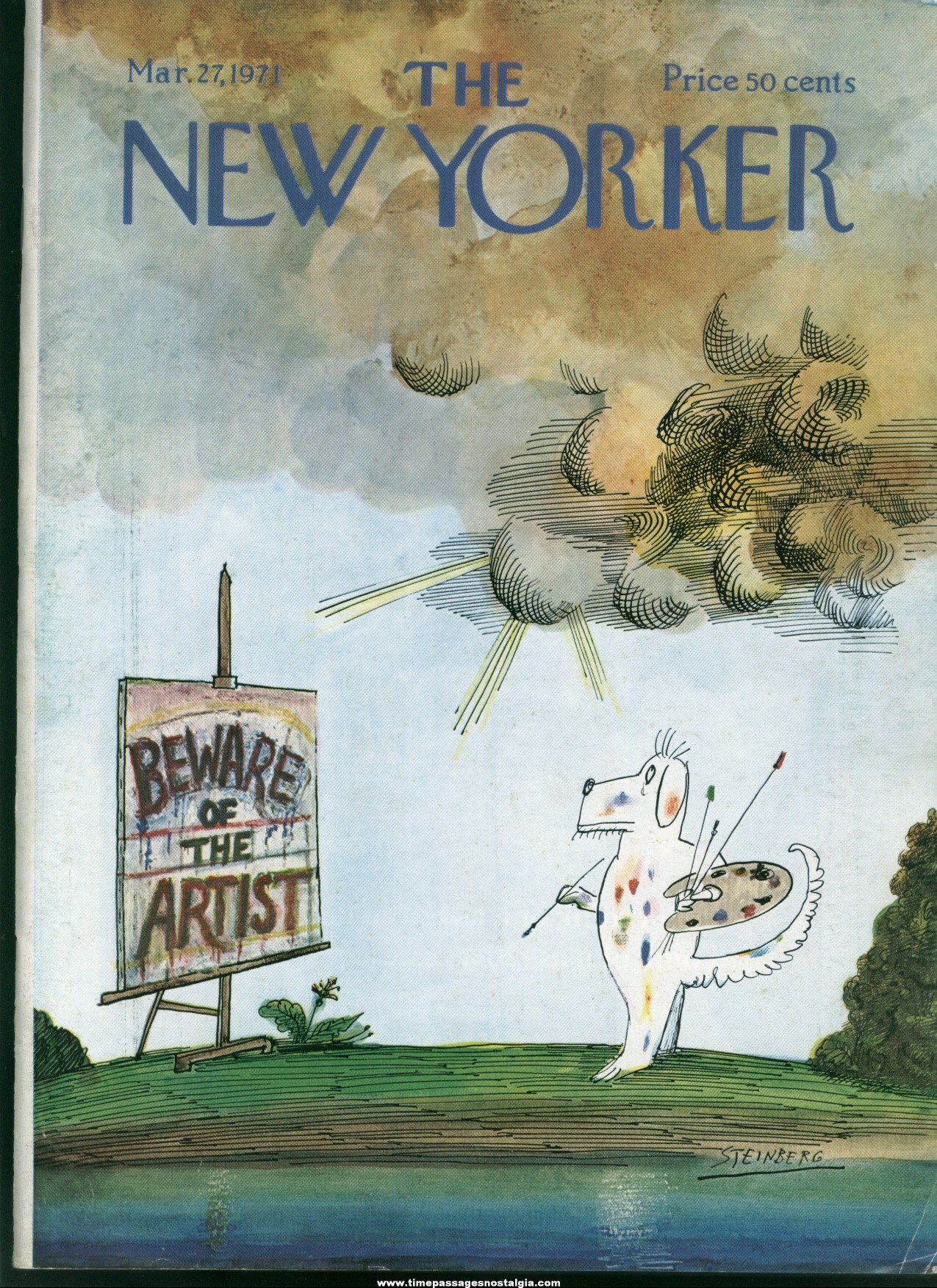 New Yorker Magazine - March 27, 1971 - Cover by Saul Steinberg