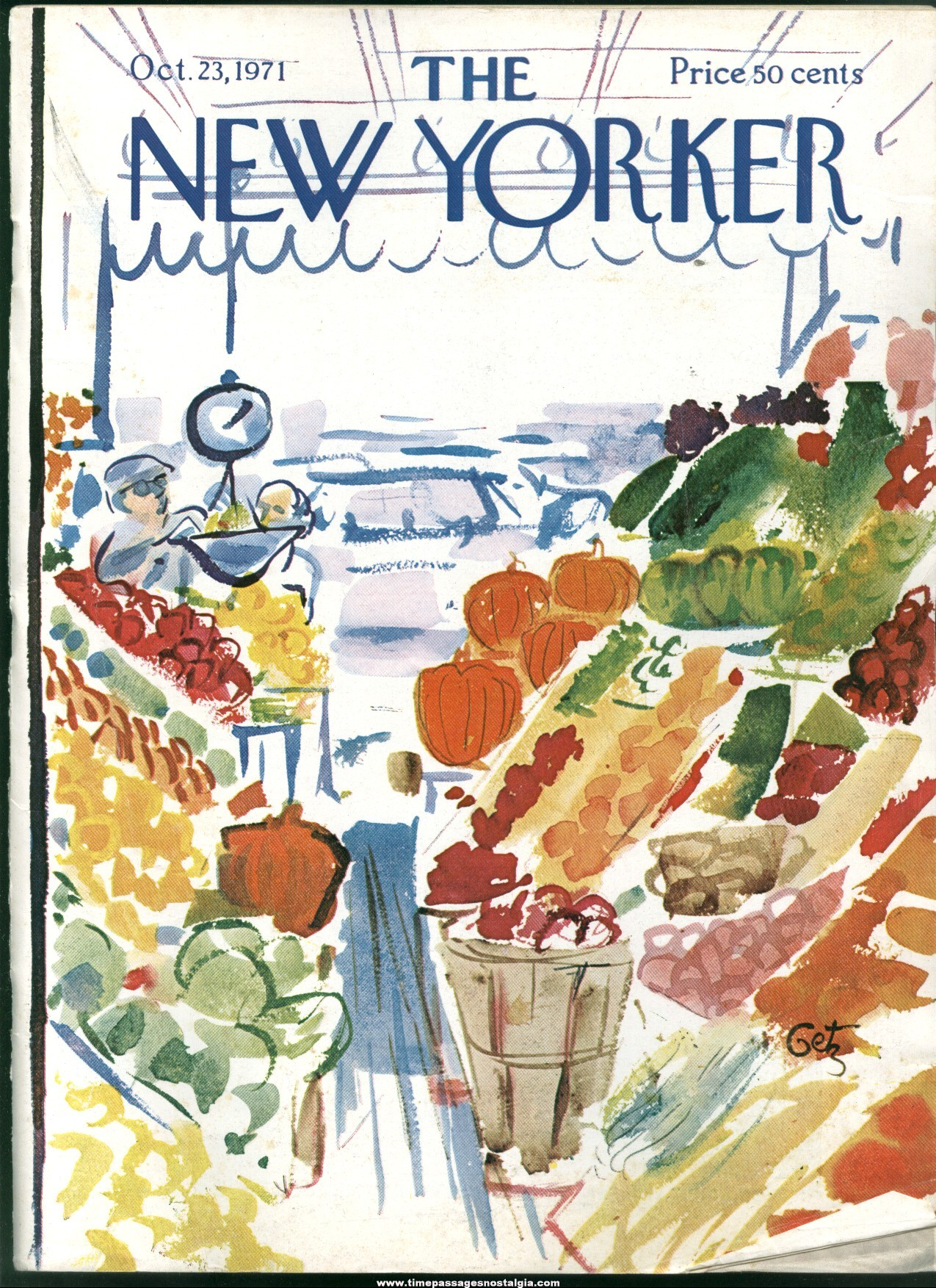 New Yorker Magazine - October 23, 1971 - Cover by Arthur Getz