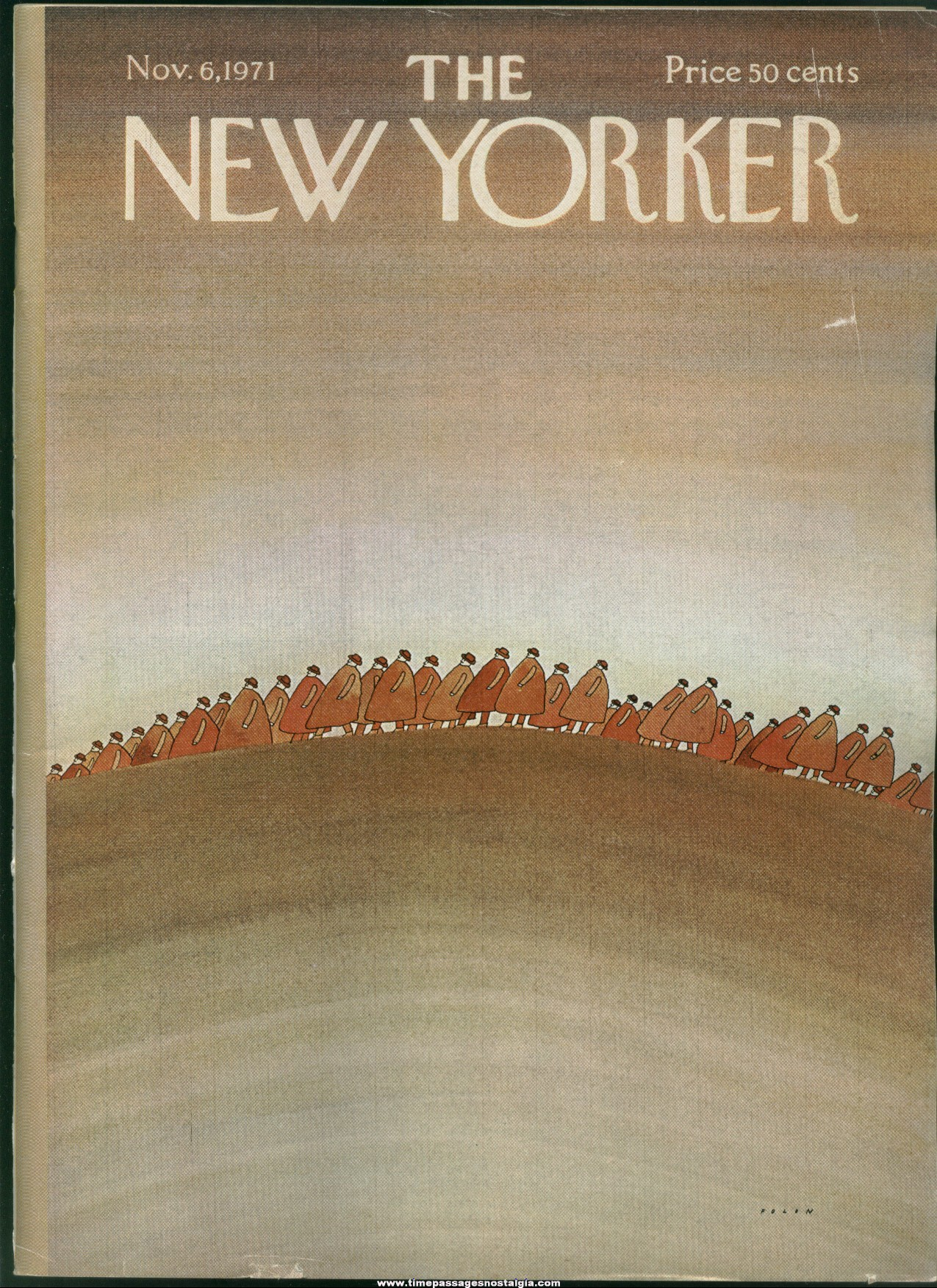 New Yorker Magazine - November 6, 1971 - Cover by Jean-Michel Folon