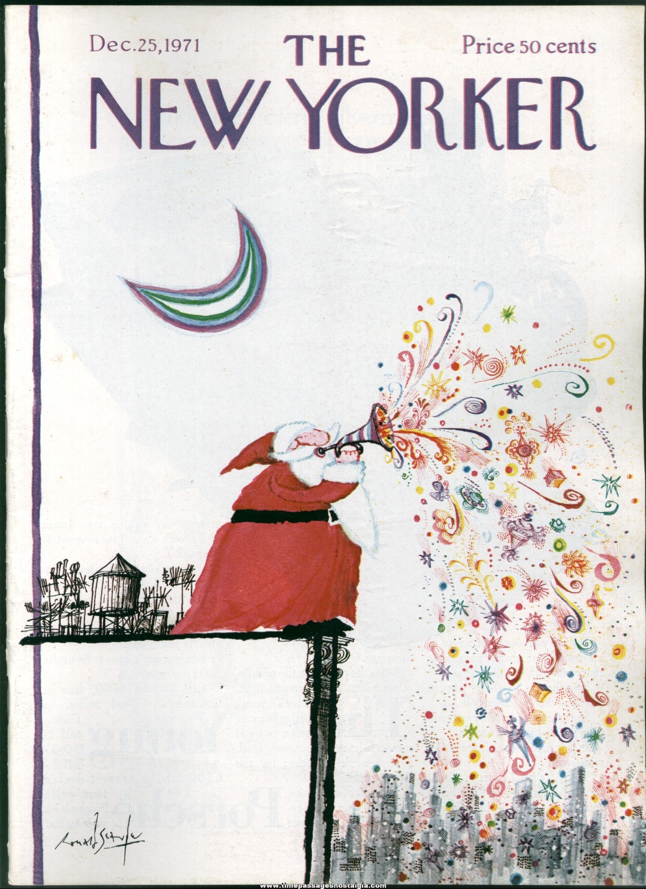 New Yorker Magazine - December 25, 1971 - Cover by Ronald Searle