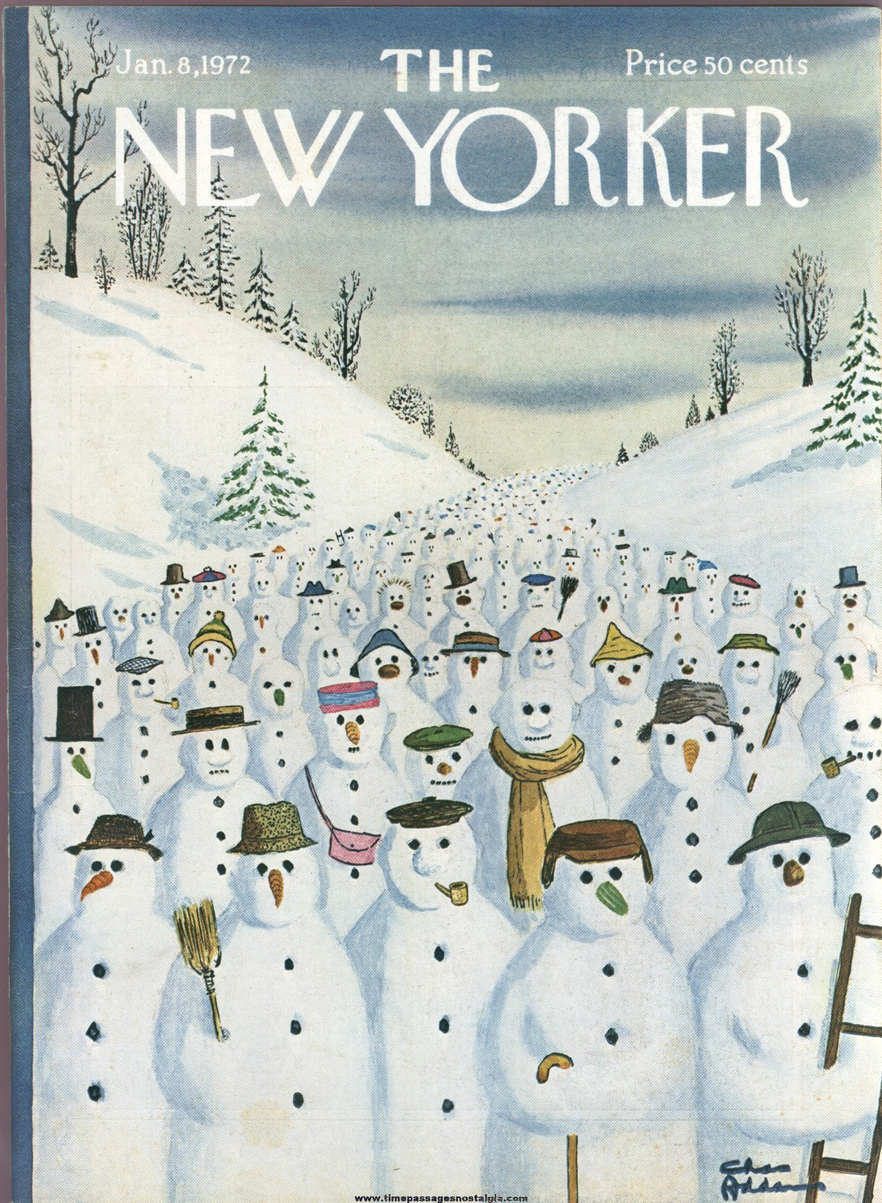 New Yorker Magazine - January 8, 1972 - Cover by Charles (Chas) Addams