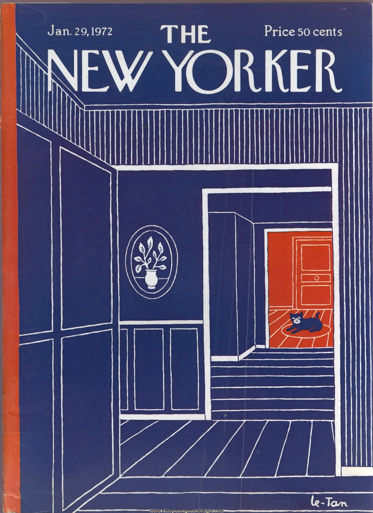 New Yorker Magazine - January 29, 1972 - Cover by Pierre Le-Tan