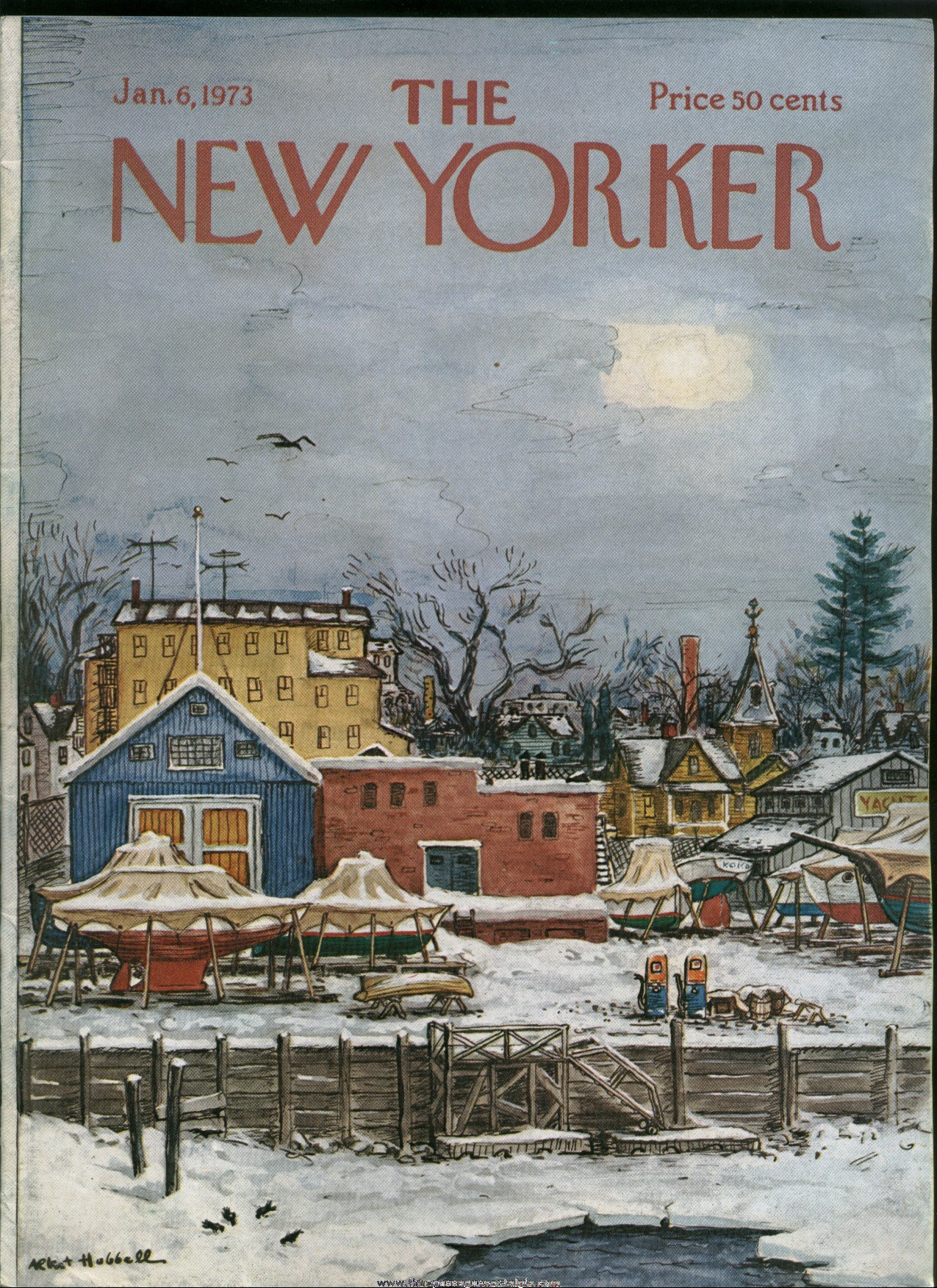 New Yorker Magazine - January 6, 1973 - Cover by Albert Hubbell