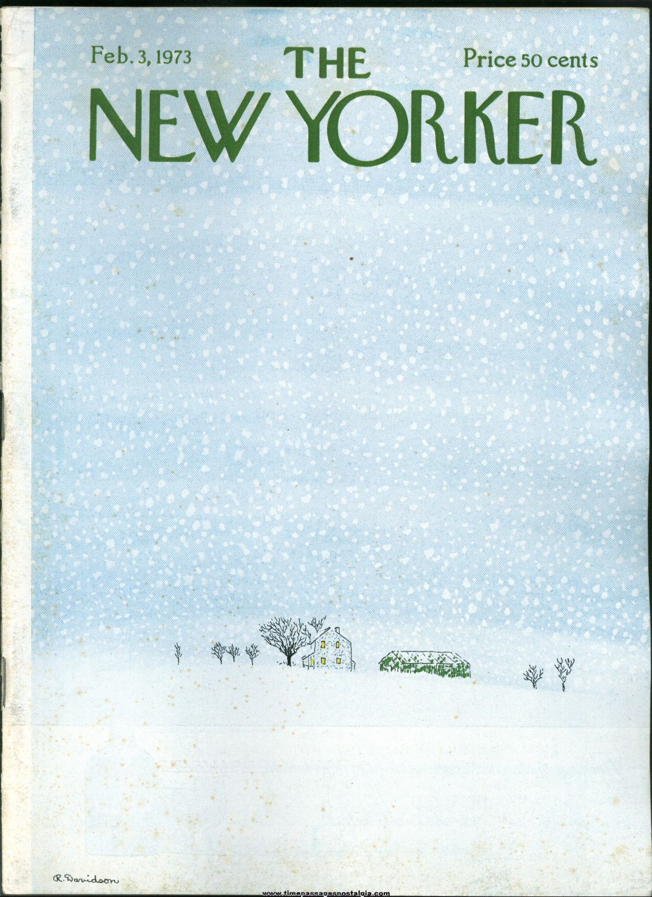 New Yorker Magazine - February 3, 1973 - Cover by Raymond Davidson