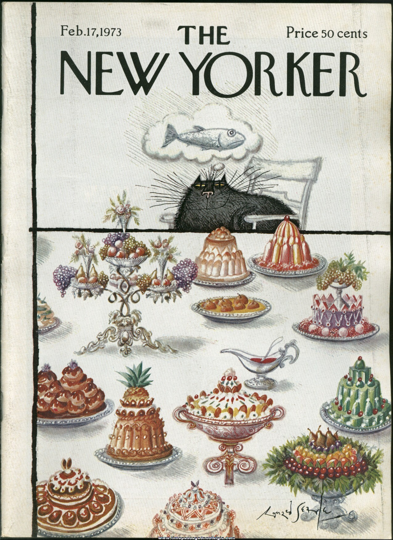 New Yorker Magazine - February 17, 1973 - Cover by Ronald Searle