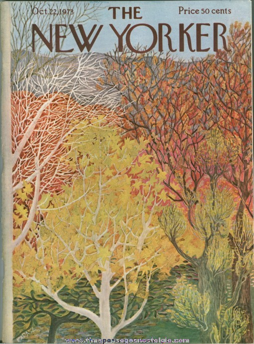 New Yorker Magazine - October 22, 1973 - Cover by Ilonka Karasz