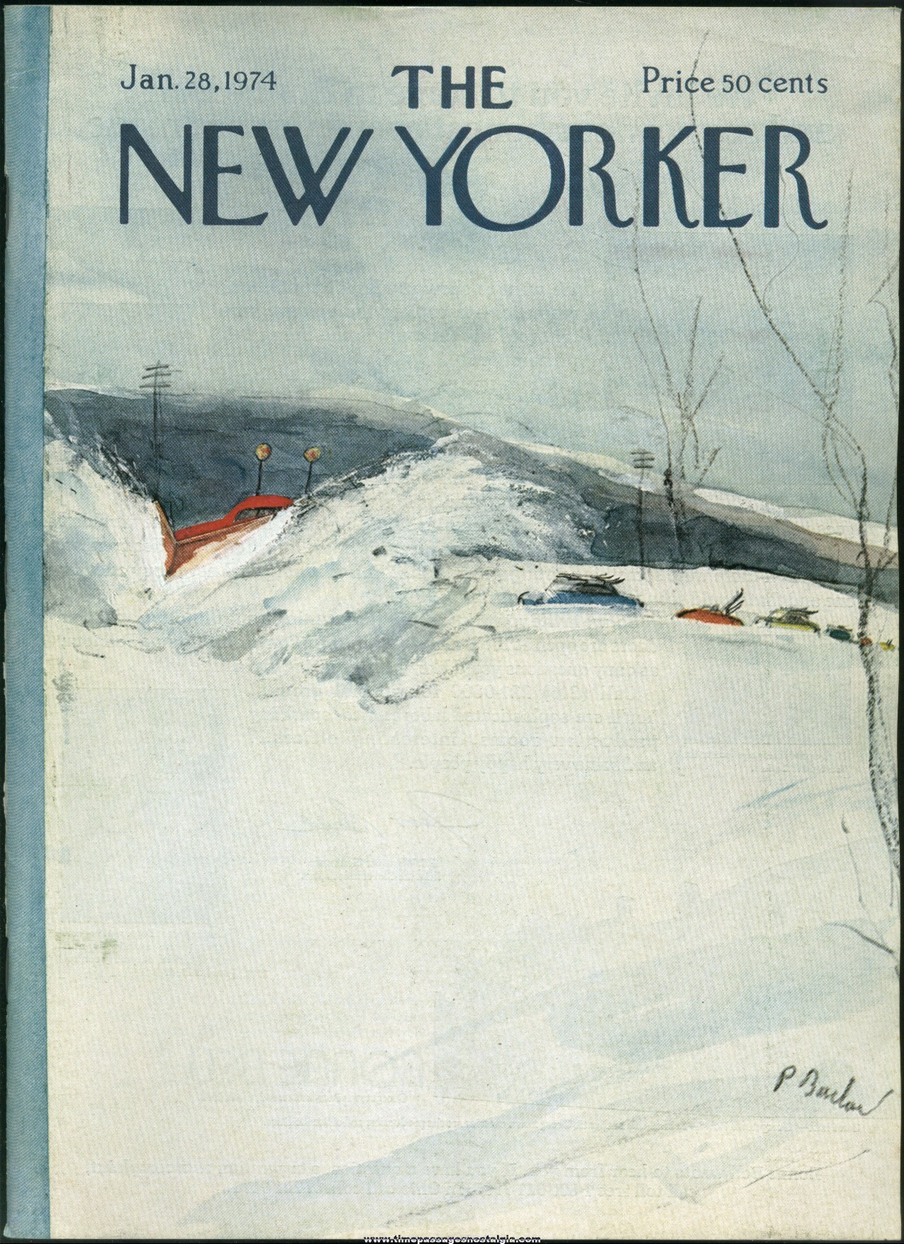 New Yorker Magazine - January 28, 1974 - Cover by Perry Barlow