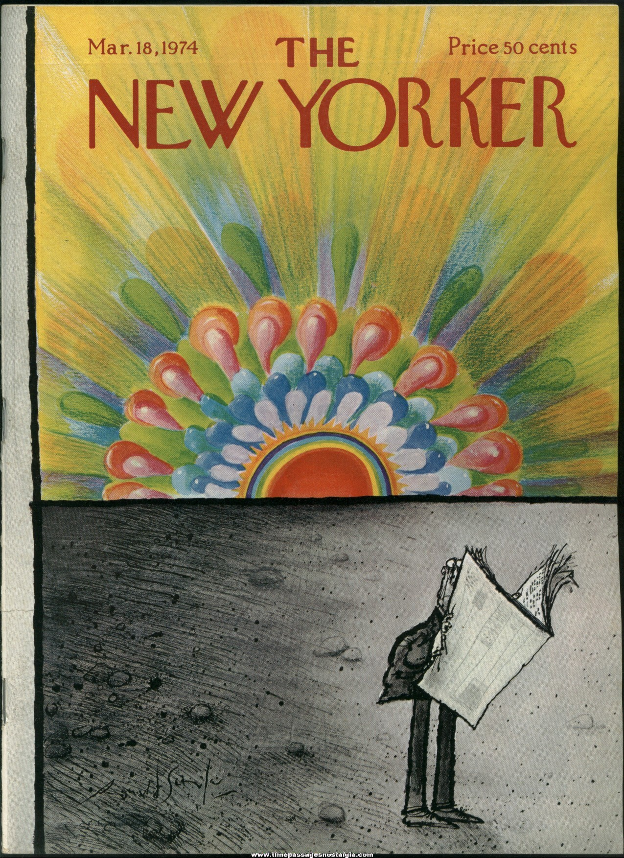 New Yorker Magazine - March 18, 1974 - Cover by Ronald Searle