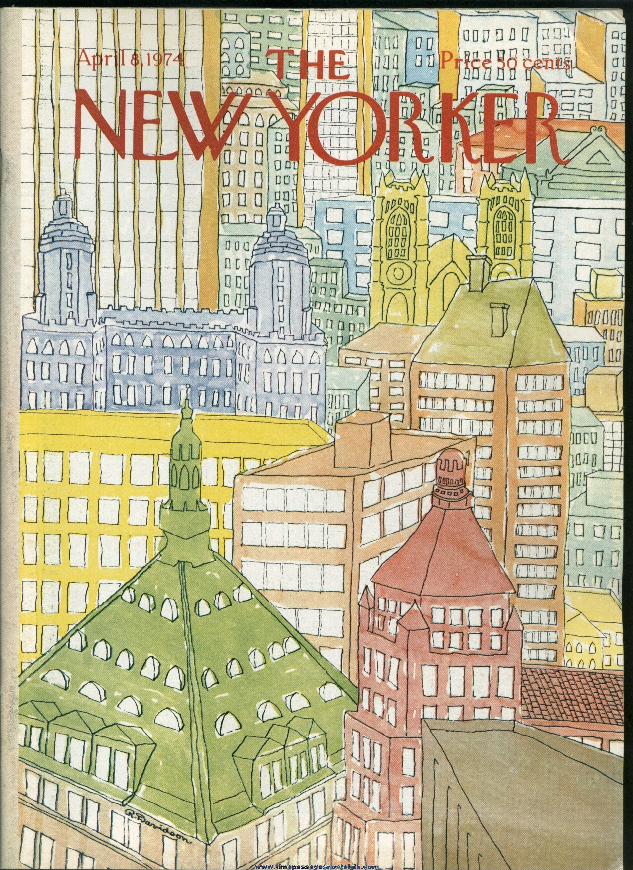 New Yorker Magazine - April 8, 1974 - Cover by Raymond Davidson