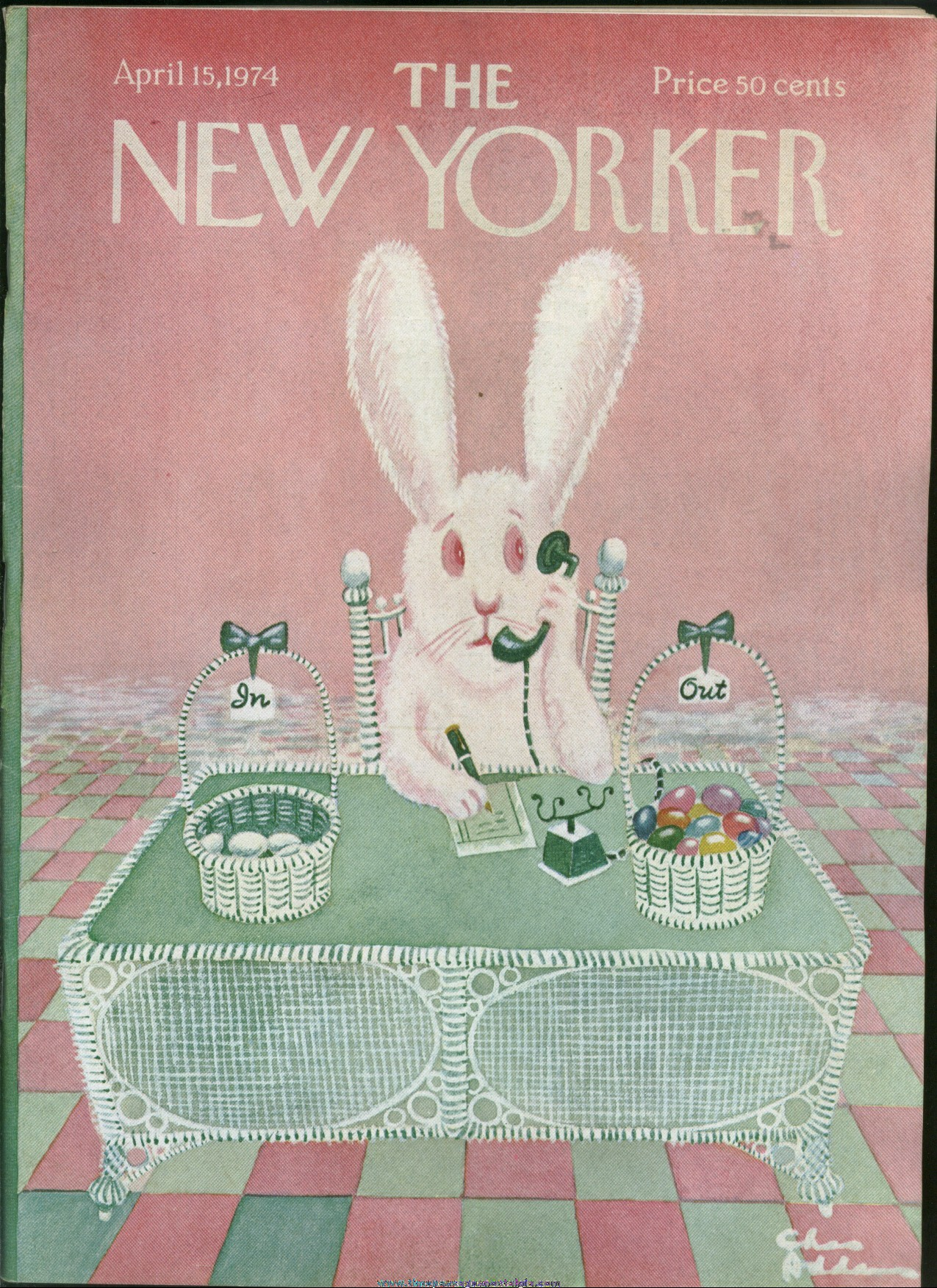 New Yorker Magazine - April 15, 1974 - Cover by Charles (Chas) Addams