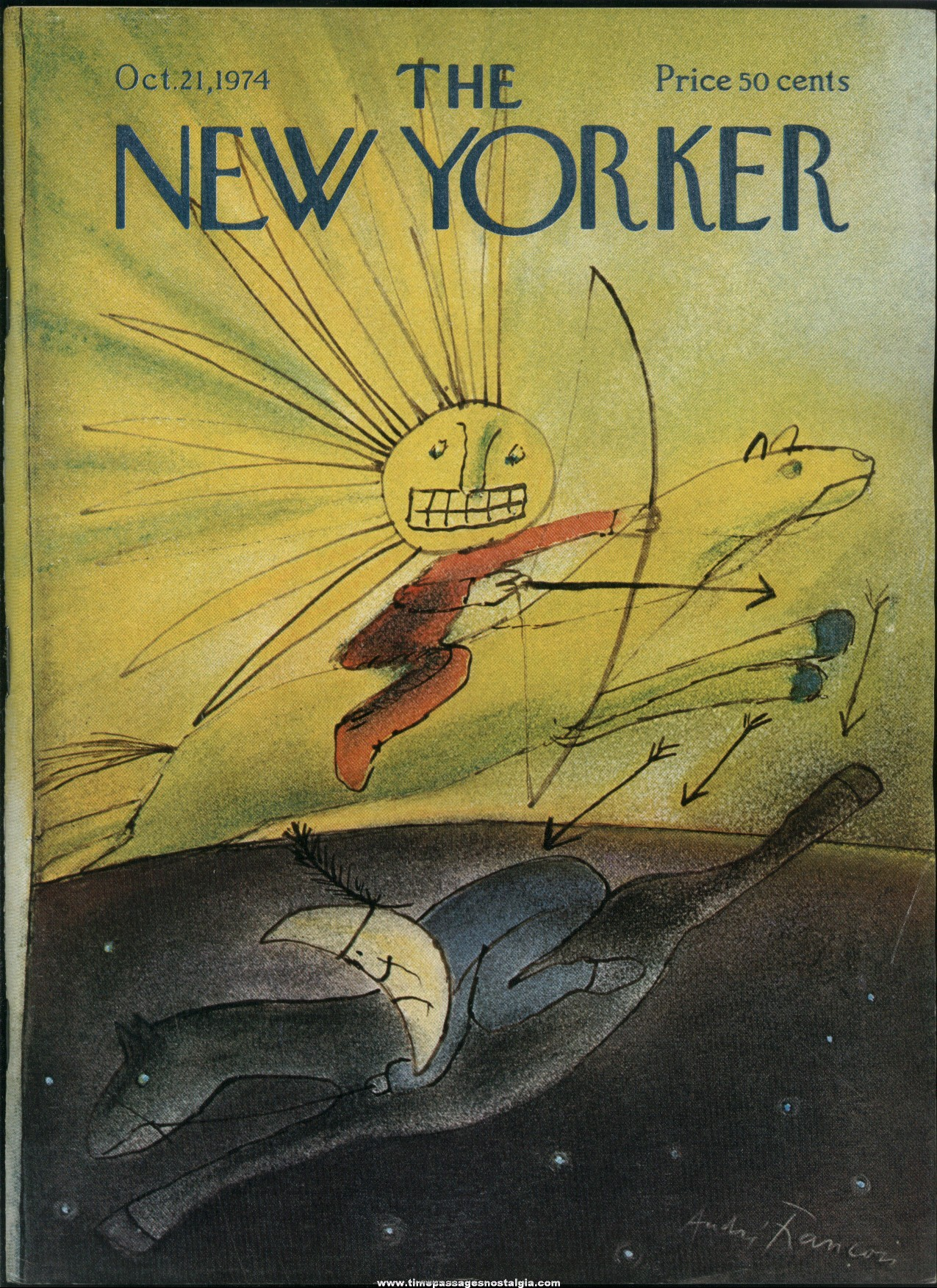 New Yorker Magazine - October 21, 1974 - Cover by Andre Francois