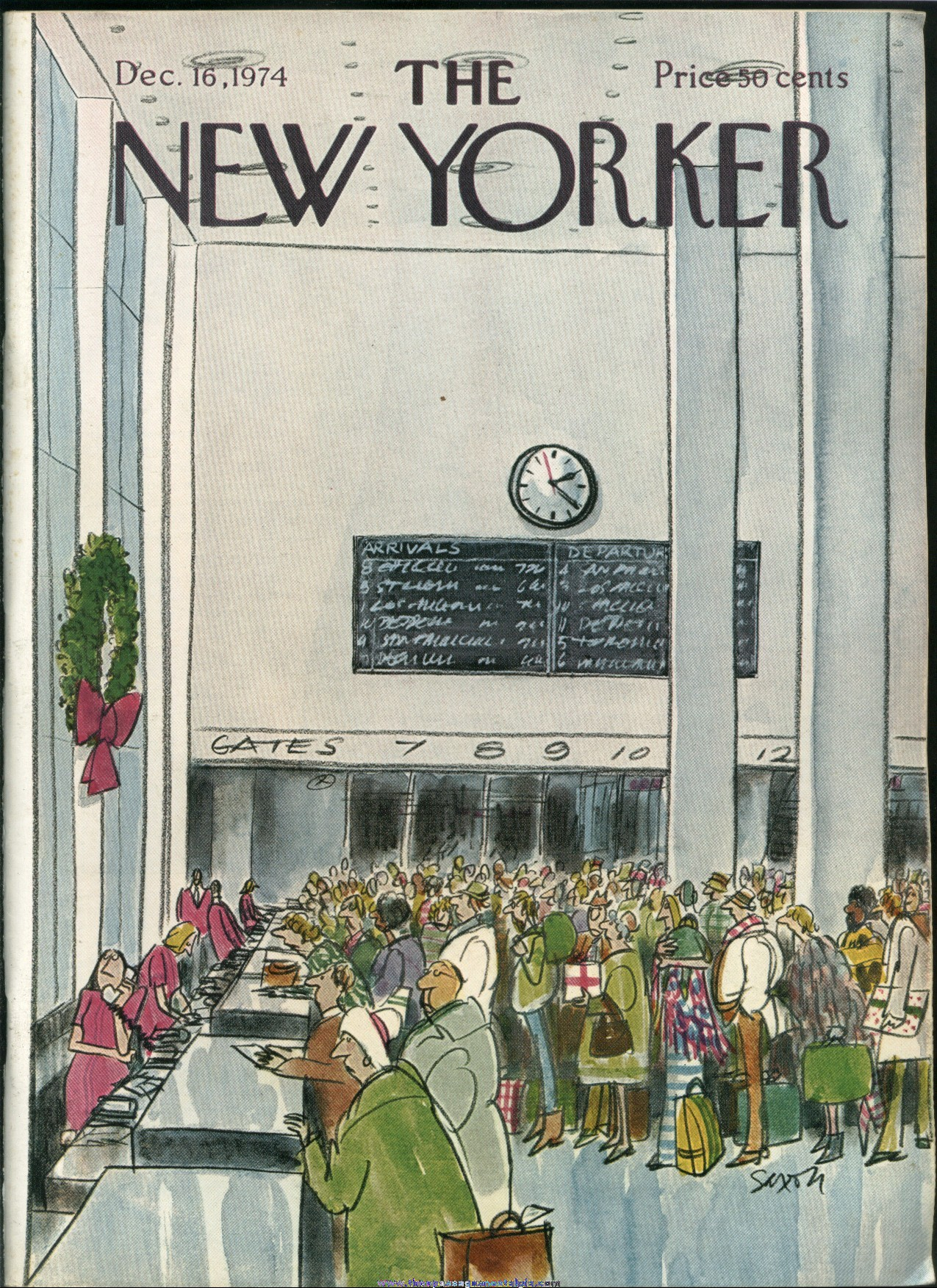 New Yorker Magazine - December 16, 1974 - Cover by Charles Saxon
