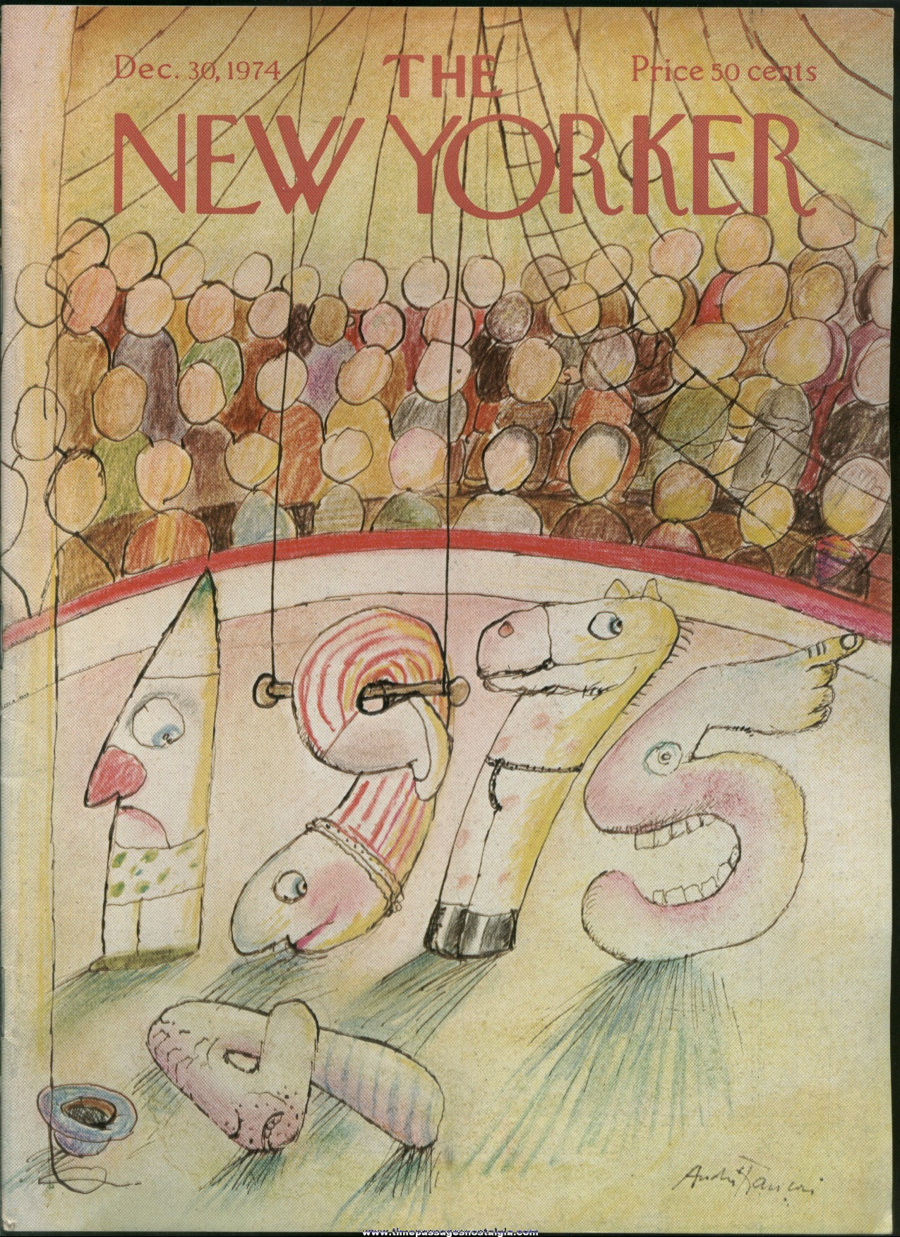 New Yorker Magazine - December 30, 1974 - Cover by Andre Francois