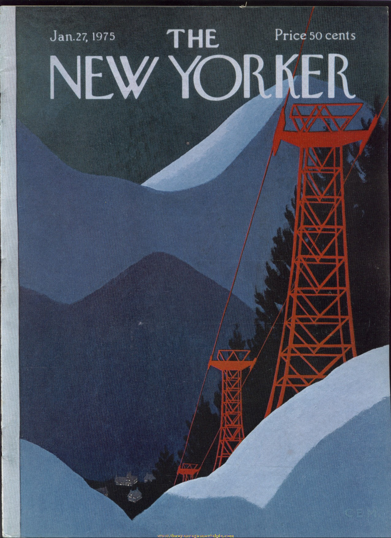 New Yorker Magazine - January 27, 1975 - Cover by Charles E. Martin