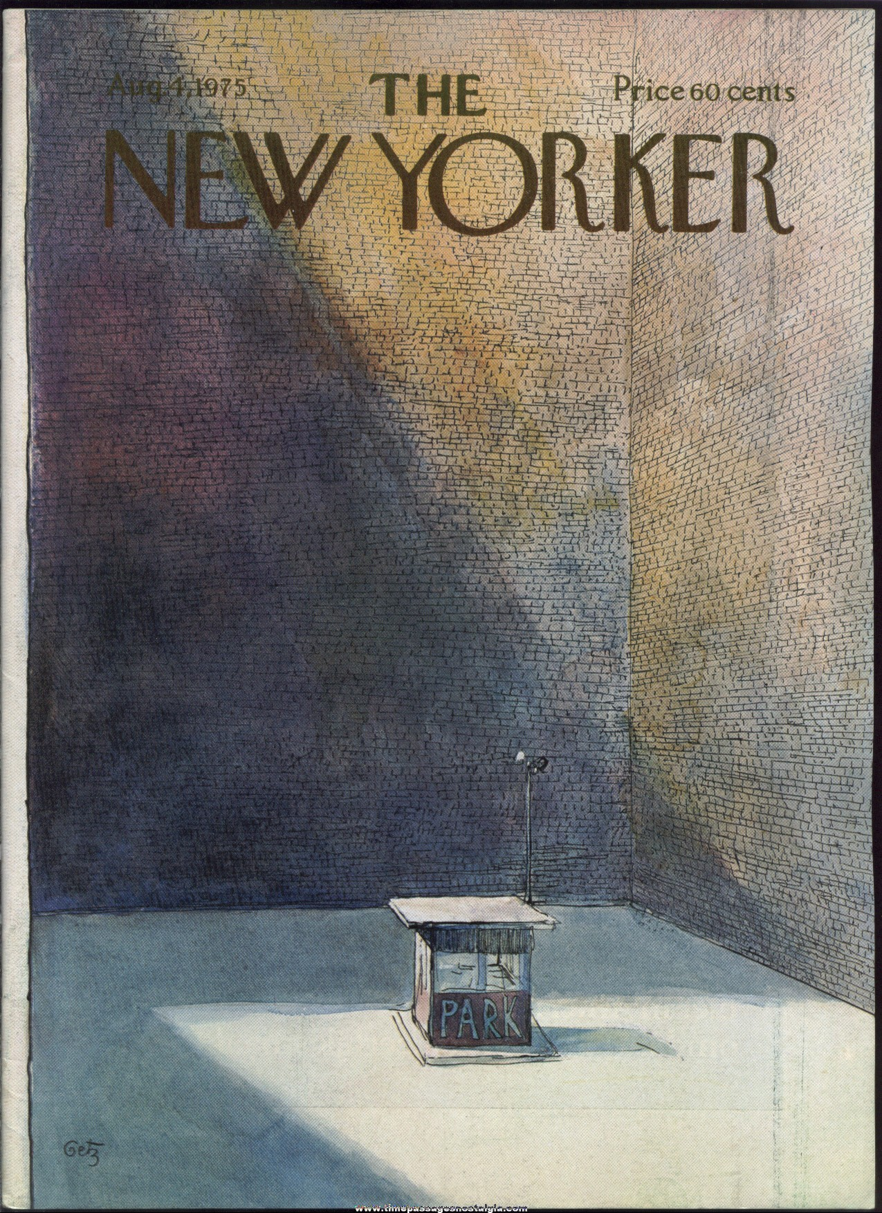 New Yorker Magazine - August 4, 1975 - Cover by Arthur Getz