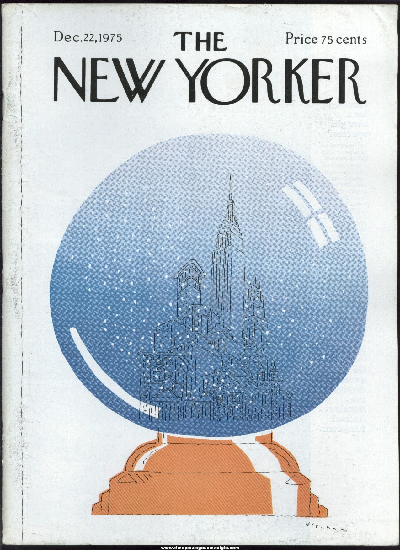 New Yorker Magazine - December 22, 1975 - Cover by R. O. Blechman