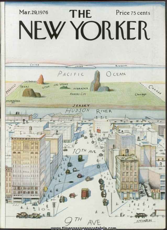 30b35264e New Yorker Magazine - March 29, 1976 - Cover by Saul Steinberg - TPNC