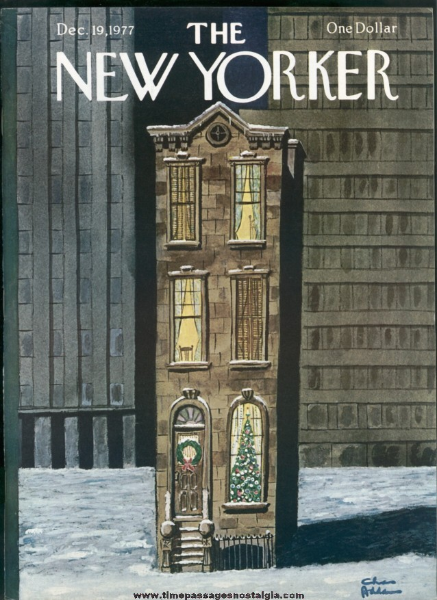 New Yorker Magazine - December 19, 1977 - Cover by Charles (Chas) Addams