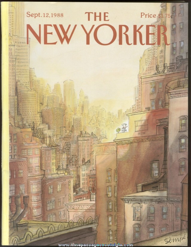 New Yorker Magazine - September 12, 1988 - Cover by J. J. Sempe